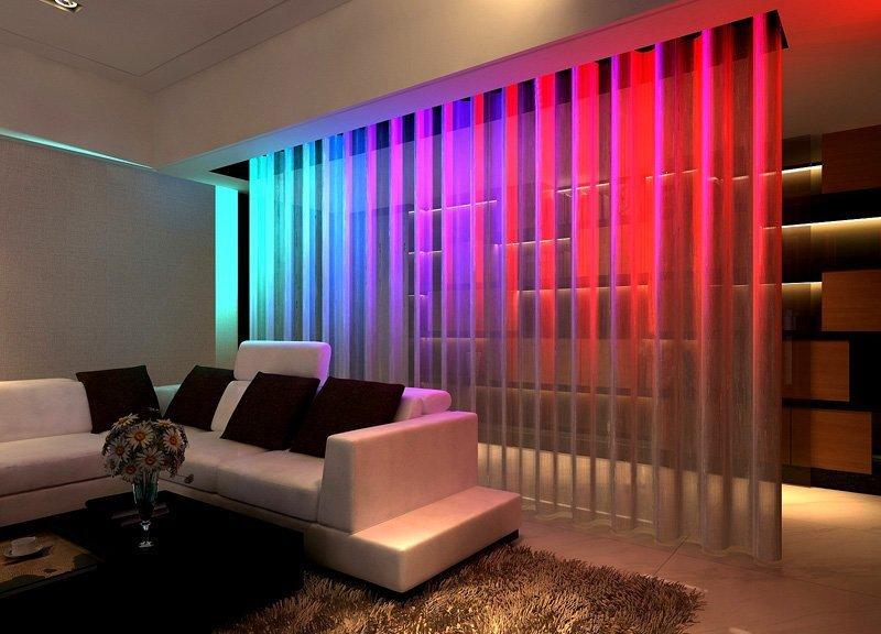 нитяные шторы с подсветкой