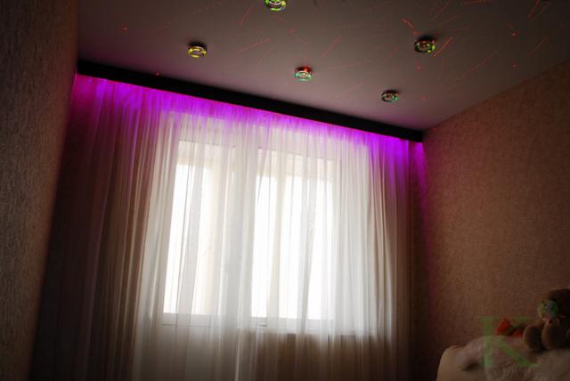 подсветка штор в детской