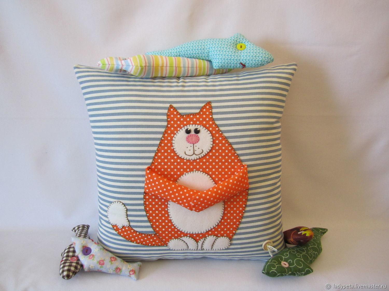 подушка кот рыболов фото