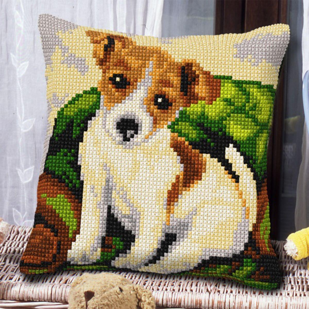 подушка собачка крестиком