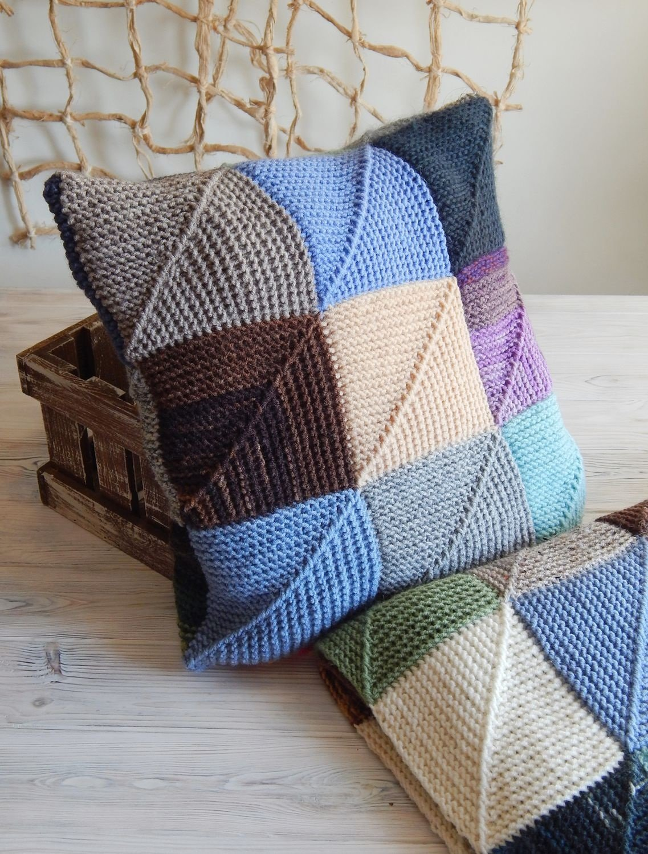 подушка вязаная виды декора