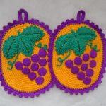 вязаные прихватки крючком виноград