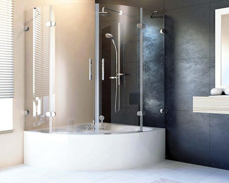 стеклянная дверцы для угловой ванны