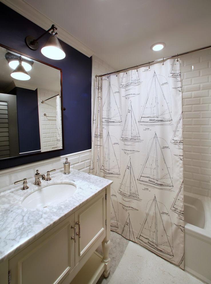 шторки для ванной комнаты фото интерьер