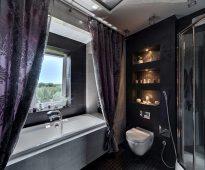 текстильные шторы для ванной идеи интерьер