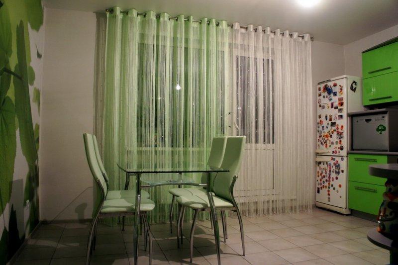 шторы для кухни на люверсах вуаль