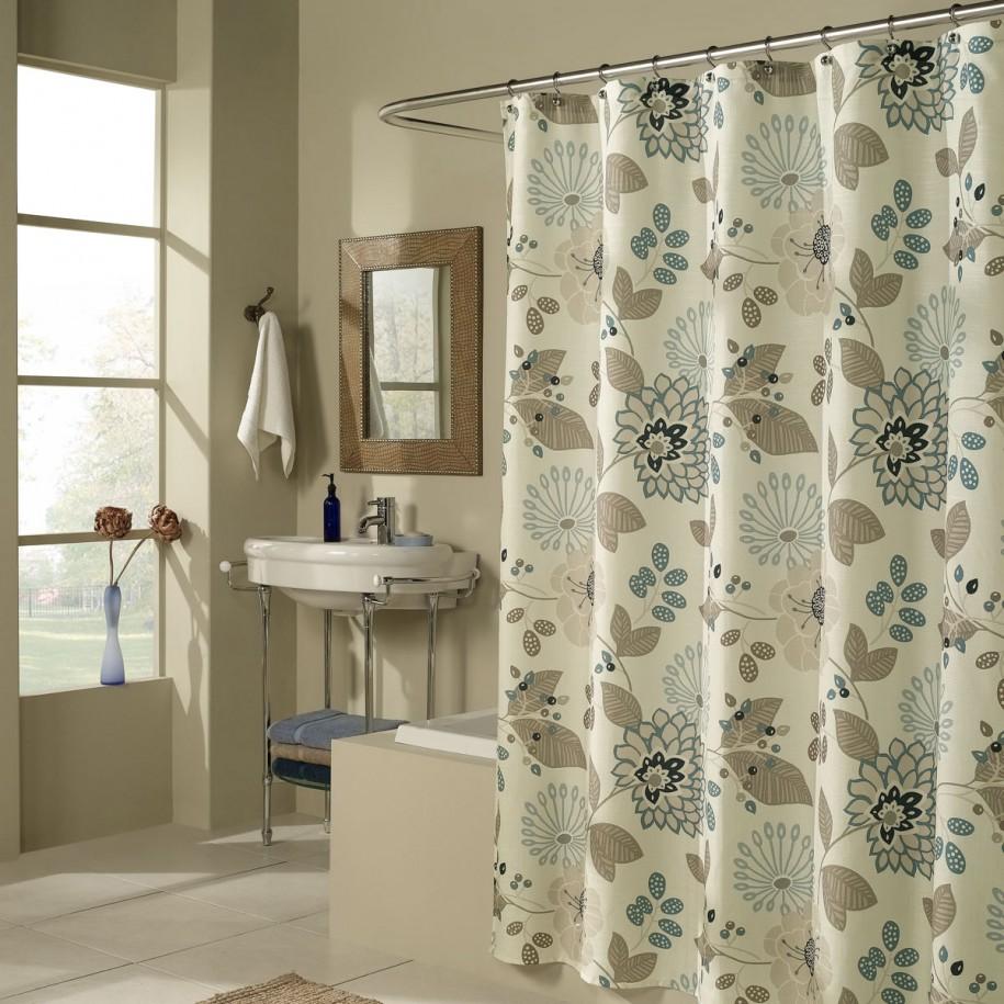 угловые шторы для ванной в интерьере