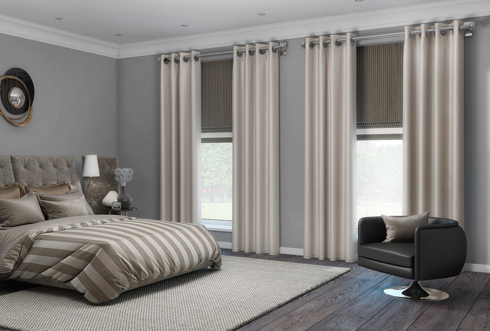 шторы на люверсах в спальне фото