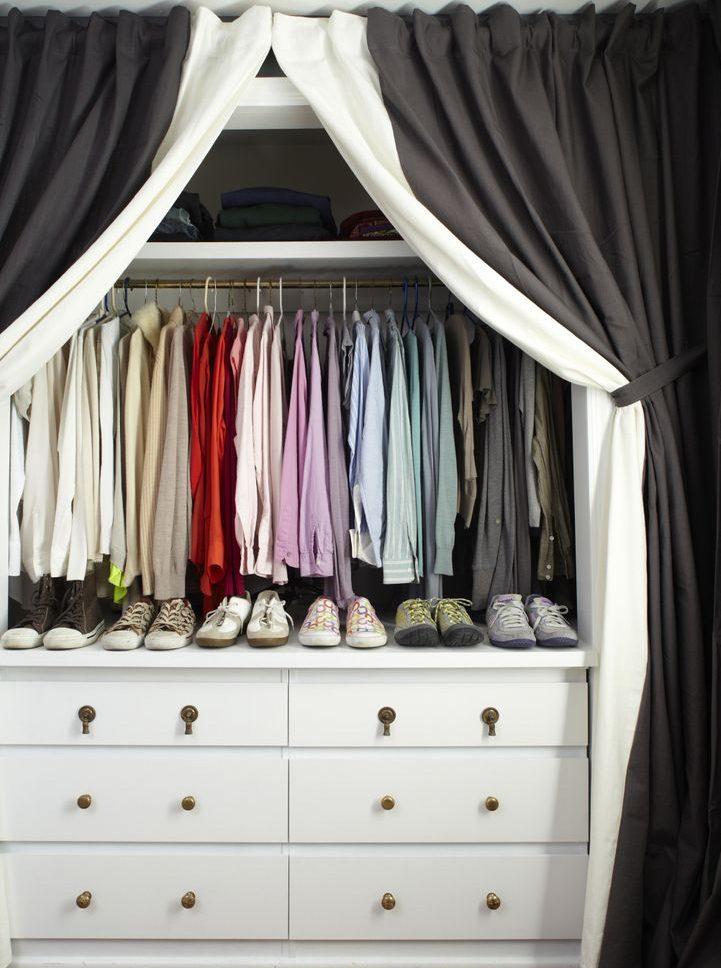 шторы в гардеробной вместо дверей