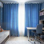 синие шторы на люверсах