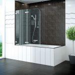 стеклянные угловые шторки для ванной идеи
