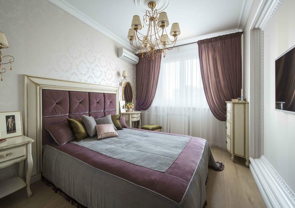 комплект из штор и покрывала для спальни фото декора