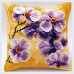 вышивка подушек крестиком цветы