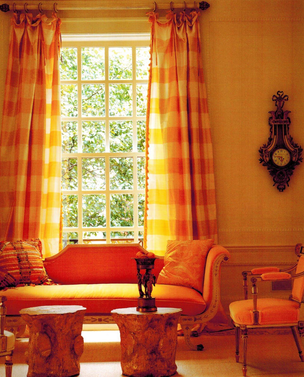 оранжевые шторы кантри