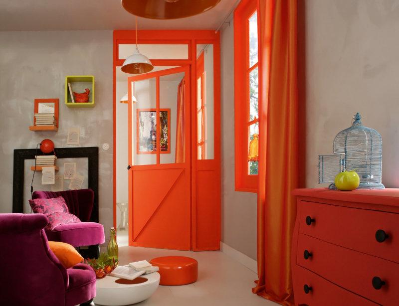 оранжевые шторы лофт