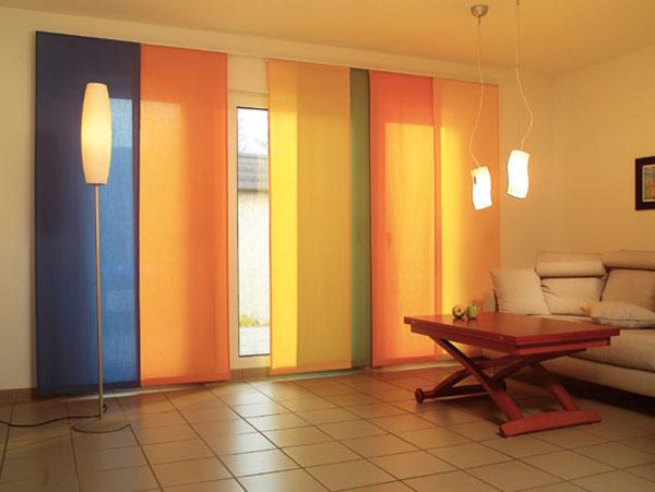 оранжевые шторы в японском стиле