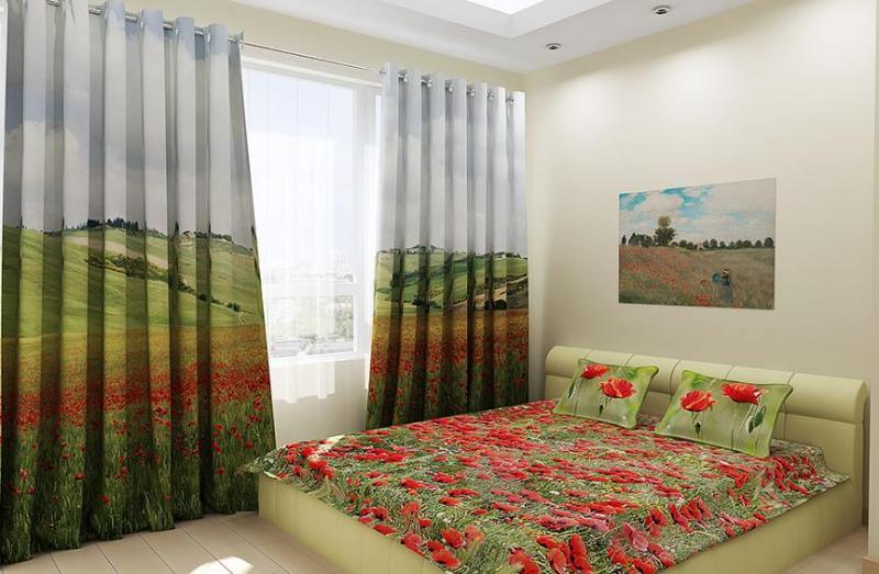 фототюль спальня