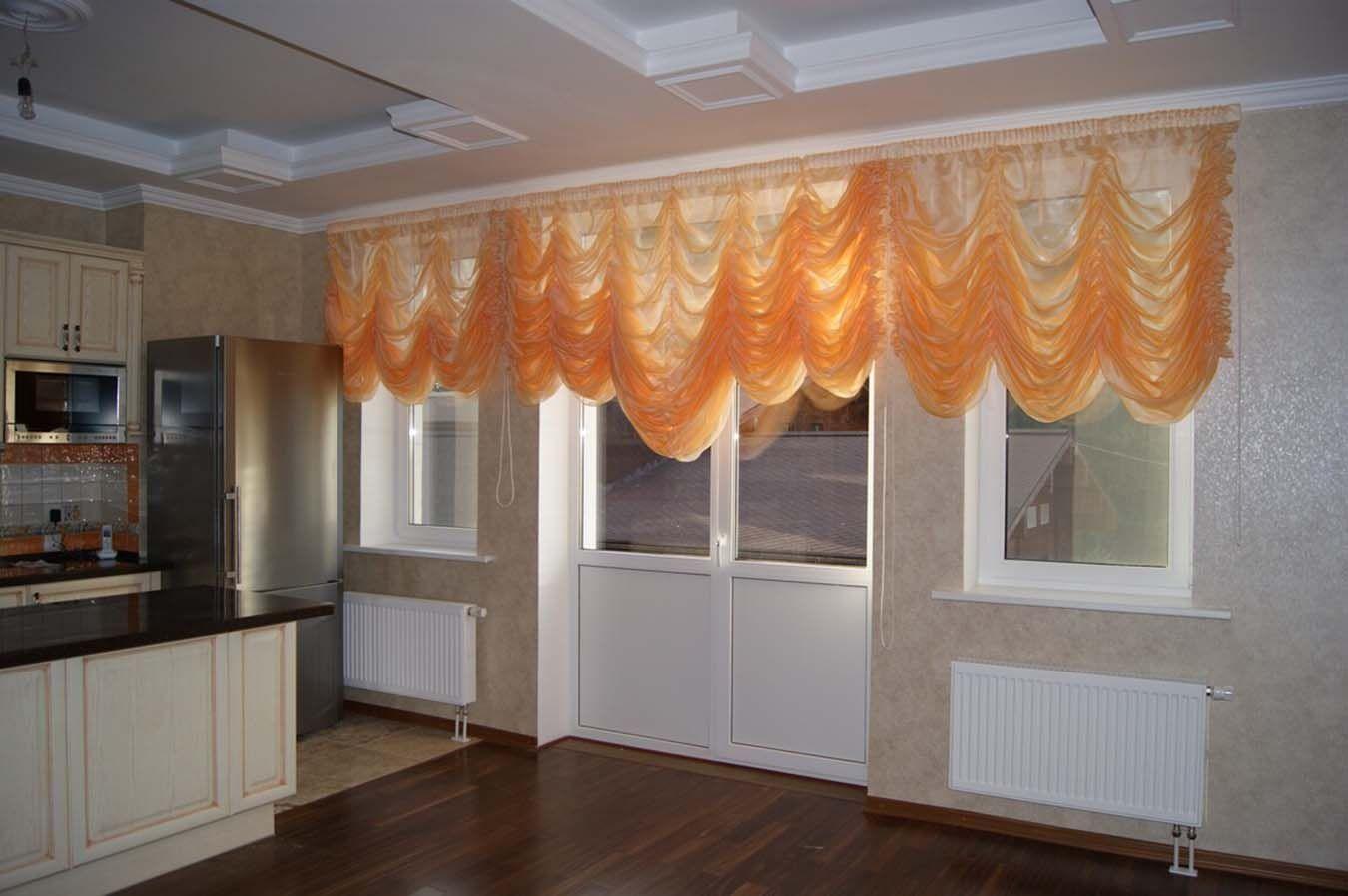 французские оранжевые шторы