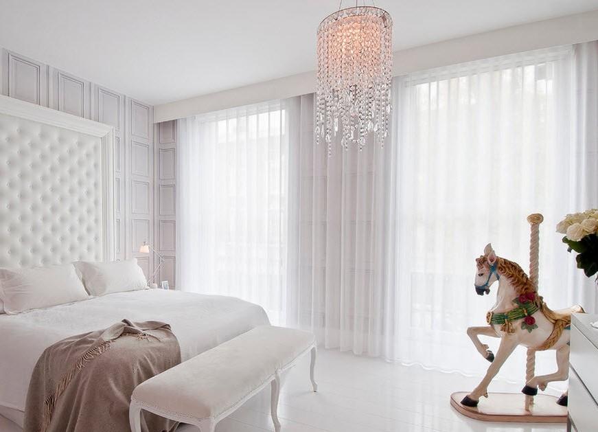 тюлевые шторы в спальне