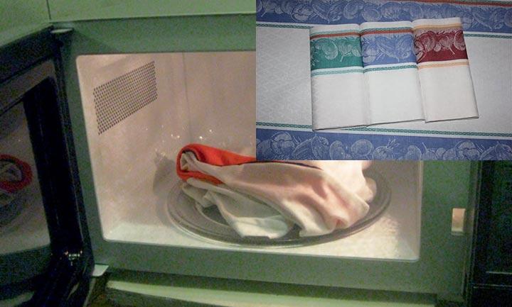 как эффективно отбелить кухонные полотенца в микроволновке