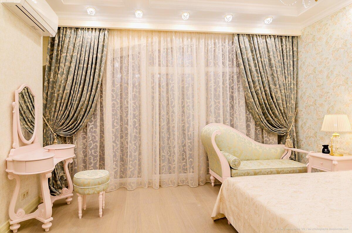 шторы в спальню с тюлем