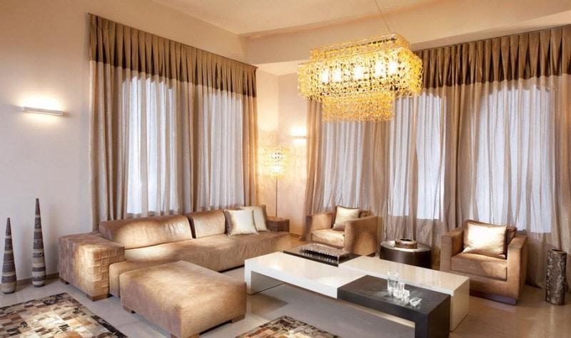 коричневые шторы интерьер