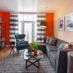 оранжевые шторы декор идеи