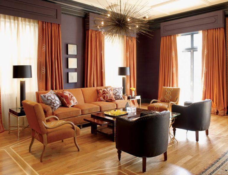 оранжевые шторы в гостиной фото идеи