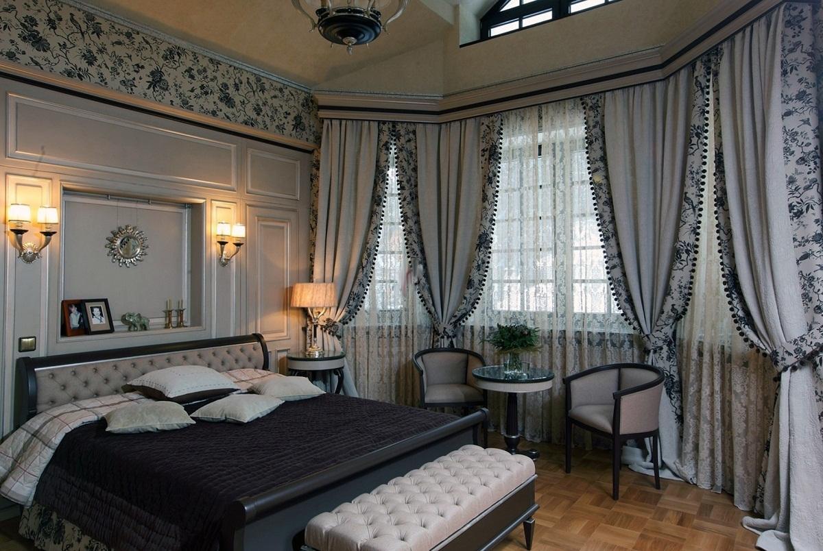 шторы в спальню неоклассика
