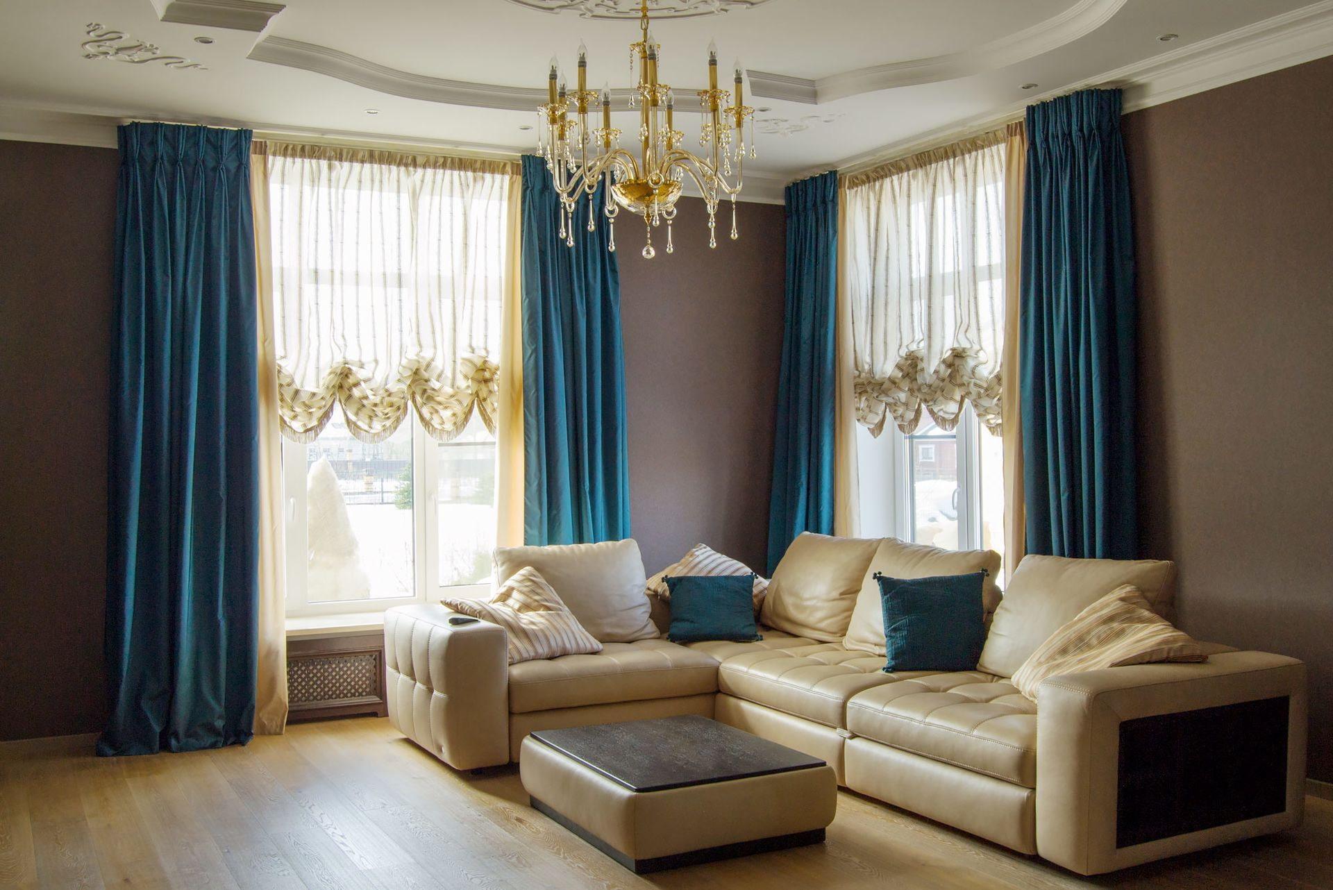 синие шторы дизайн идеи
