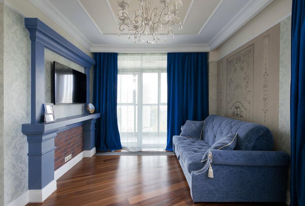 синие шторы фото идеи