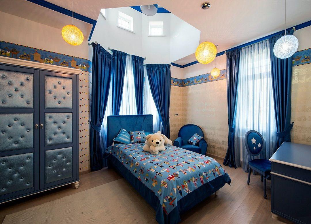 синие шторы идеи интерьер