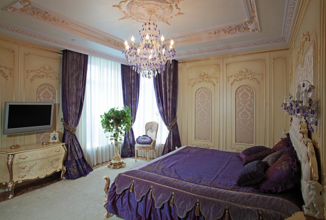 шторы в спальню фиолетовые