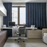 синие шторы идеи декора