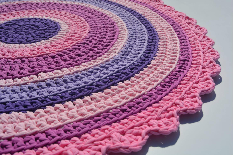 вязаные коврики крючком из трикотажа