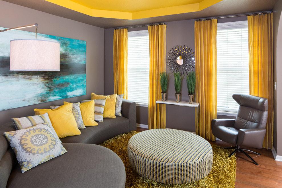 желтые шторы декор фото
