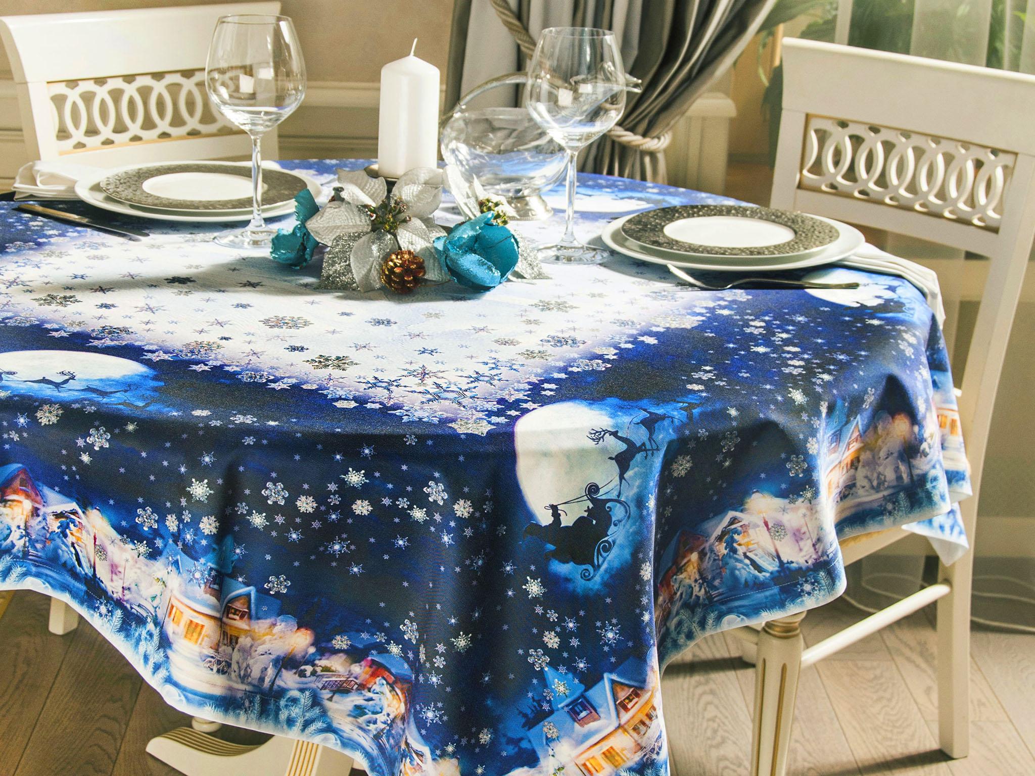 скатерть а новогодний стол синяя
