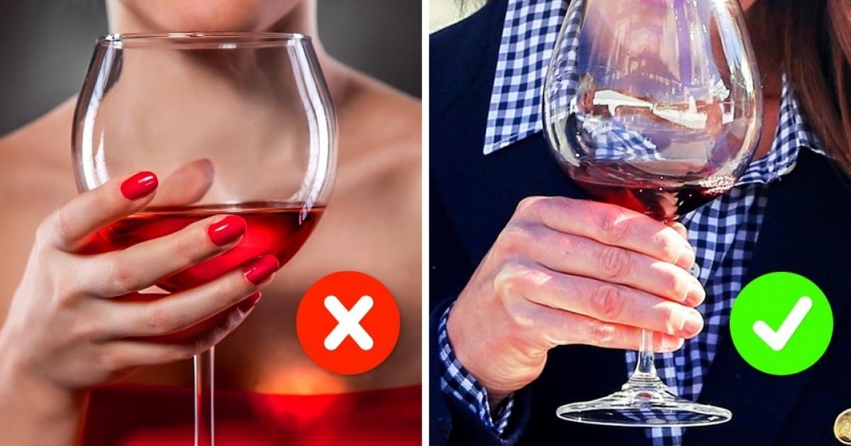 как держать бокал с вином