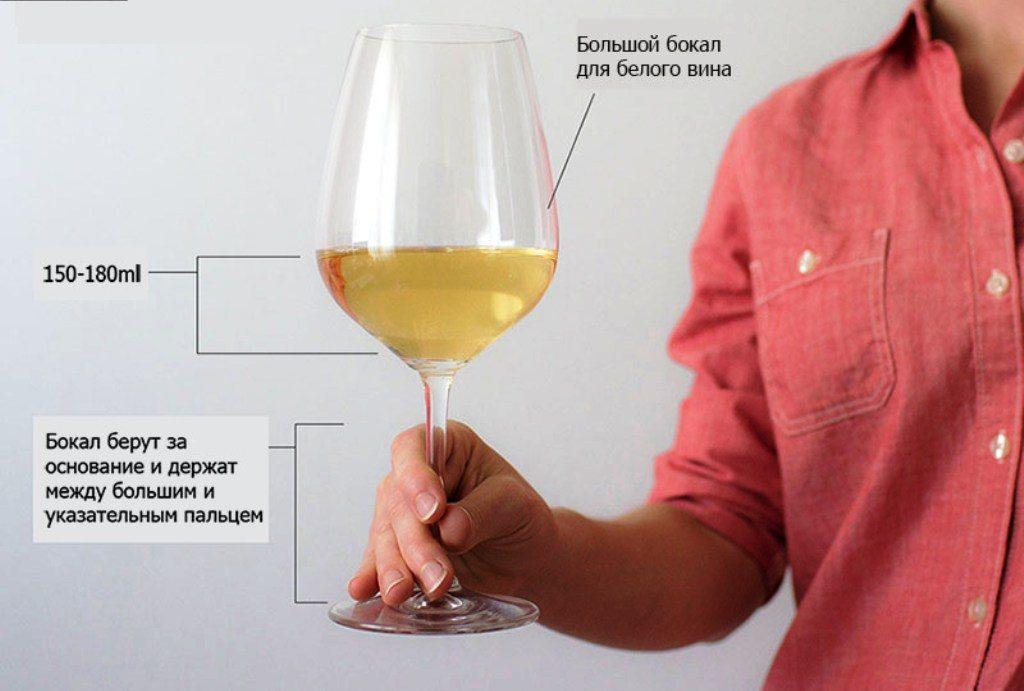 как держать бокал с белым вином