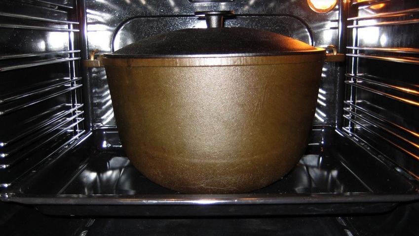 как прокалить казан в духовке