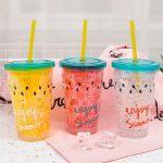 многоразовые стаканы с крышкой и трубочкой идеи оформления