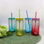 стеклянные многоразовые стаканы с крышкой и трубочкой