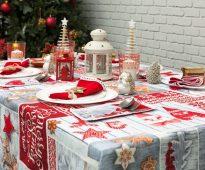 новогодние скатерти и салфетки рогожка