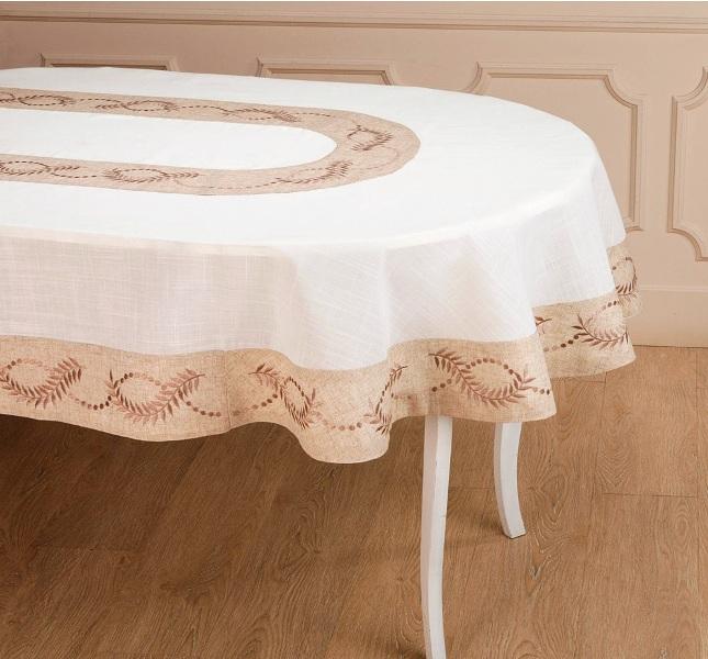 скатерть из льна на овальный стол