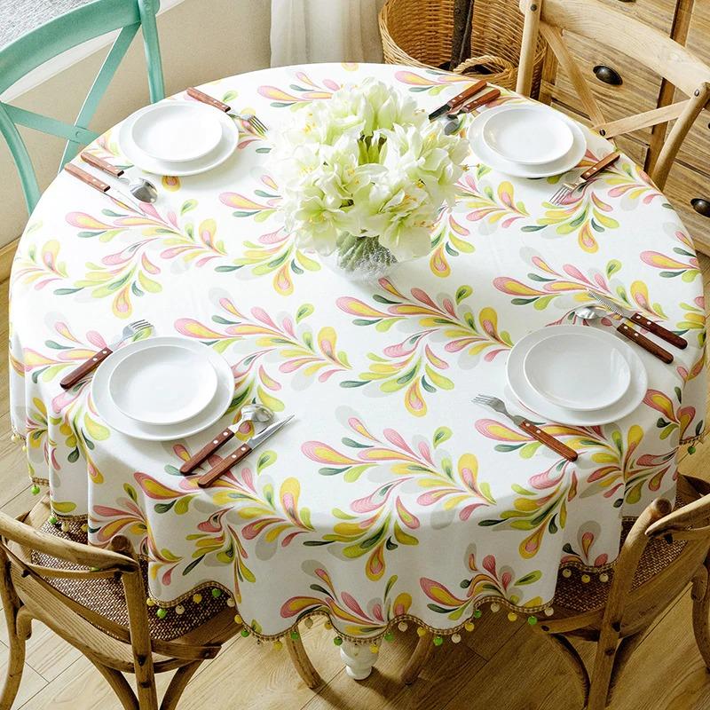 скатерть на круглый стол виды декора