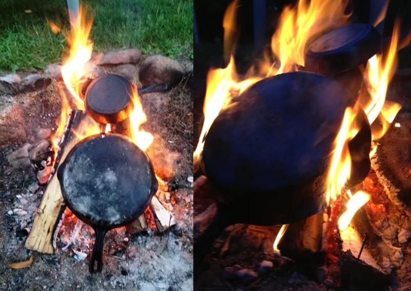 обжиг чугунных сковород