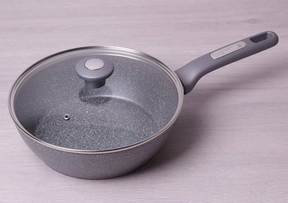 гранитная сковорода с крышкой
