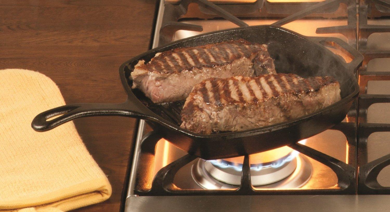 сковорода гриль лодж с мясом