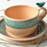 чашка глиняная с орнаментом