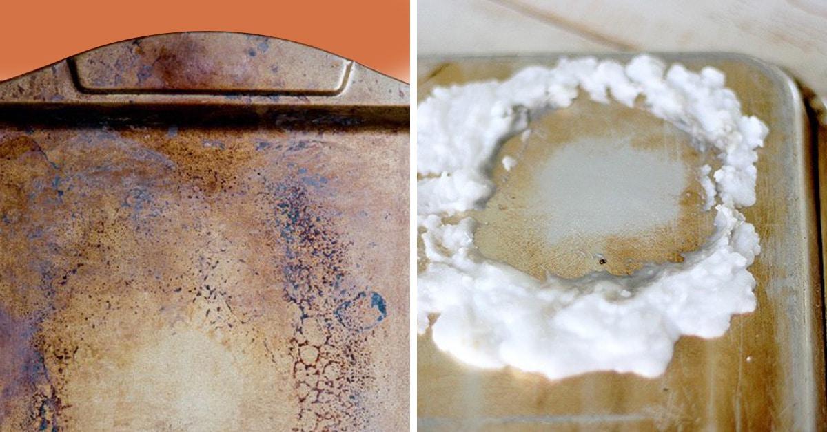 очистить противень содой и уксусом